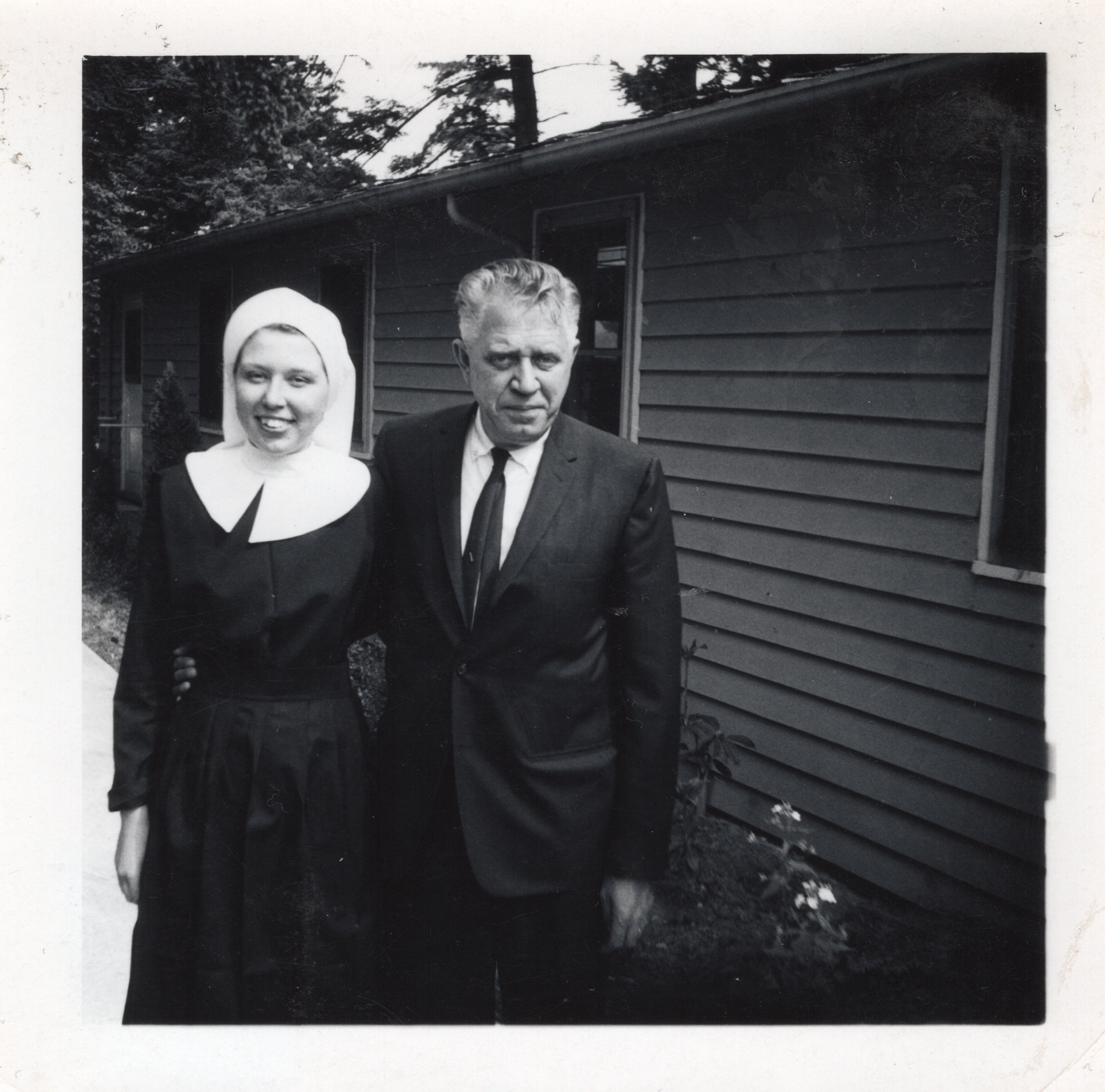 A photo of Judy after first getting her Habit with her father Wilbur Dirks in June of 1966